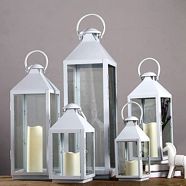 wrought iron glass vintage large floor windproof lanterns With kitchen colors with white cabinets with decorative lantern candle holders