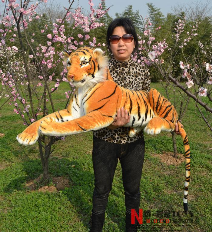 stuffed animal 110 cm plush simulation lying tiger toy emulation yellow tiger doll great gift  free shipping w400<br><br>Aliexpress