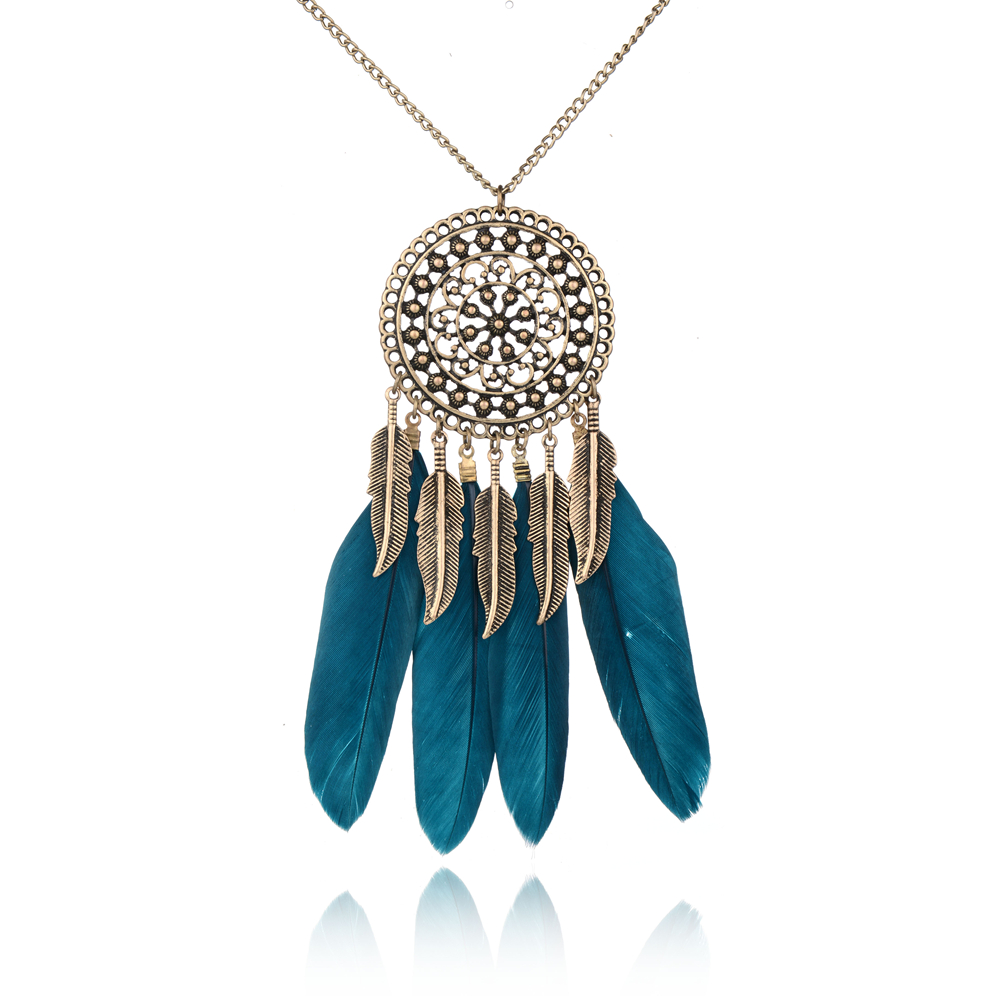 Newest 2016 Vintage Dream Catcher Necklace & Pendant Bohemian Jewelry Handmade Feather Tassel Necklace For Women Collier JN15266(China (Mainland))