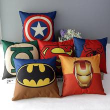 Cartoon Super Hero Cotton Linen Cushion Cover