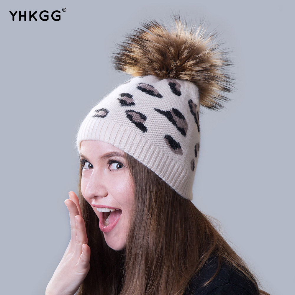 Ms. cashmere hats 2016 beanies gorros latest casual with leopard fur ball for shopping(China (Mainland))