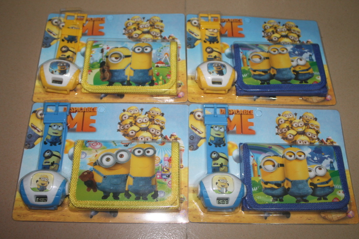 free shipping 50pcs/lot wholesale hot sale LED Projection watch boys girls 3D Cartoon Despicable me Minions watch and wallet(China (Mainland))