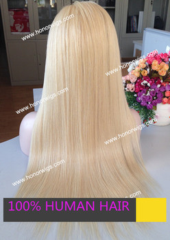 Chinese virgin straight blond 24 inches high qulaity remy hair wig