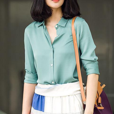 S-XXXL Fashion Light green silk satin blouse ladies casual long sleeve button Turndown Collar real silk satin blouses shirts(China (Mainland))