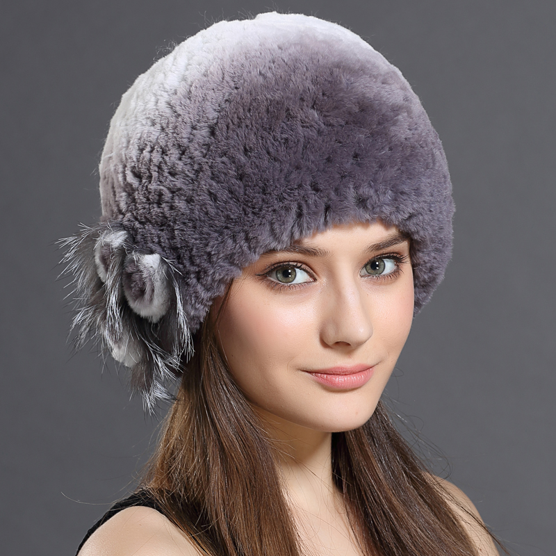 Women Hat Of Russian Winter 2016 Rabbit Fur Cap Women's Hat Female Fashion Amazing New Floral Colorful Trendy Winter Beanies(China (Mainland))