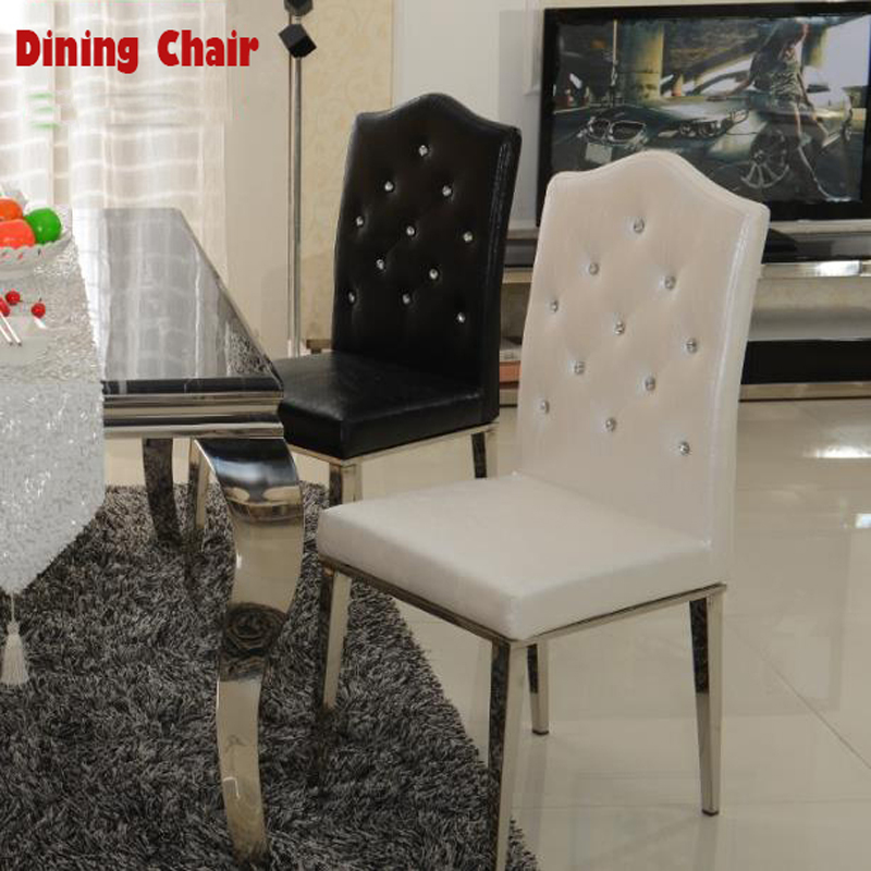 New 100 stainless steel leather dining chairs fashion for White dining room chairs