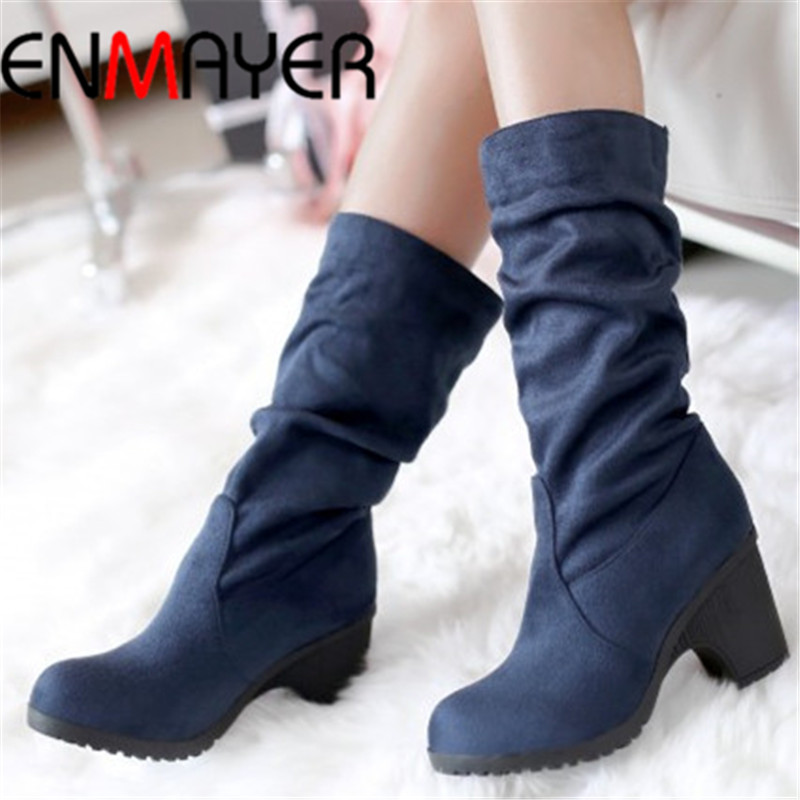 ENMAYER  Fashion Vintage Mid-Calf Snow Boots, Platform Winter Boots Square heel Women's Shoes Winter for Women knight boots