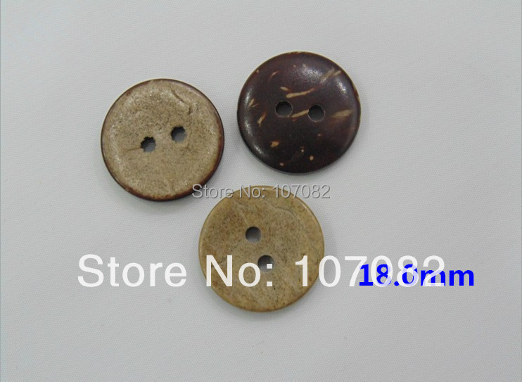 Free Shipping!1000pcs/lot 18mm Retro Natural Brown Coconut Shell Buttons Round Sewing Button For Scrapbooking(China (Mainland))