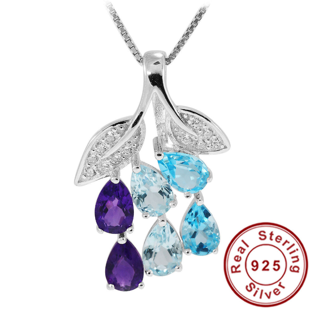 2.1ct Amethyst Sky Blue Topaz Blue Topaz Ring Pear Cut Gemstone Pendant Set 925 Solid Sterling Silver 2015 Brand New Gift(China (Mainland))