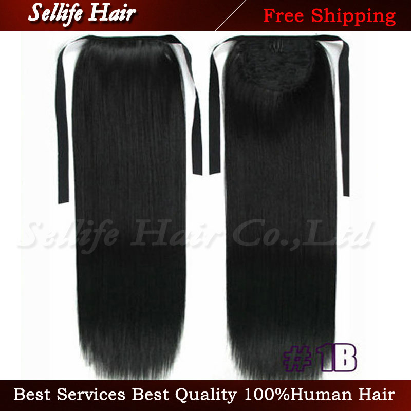 22(55cm) 90g Fashion Long Straight Synthetic Ribbon Ponytail Clip In Hair Extensions Ponytails #1b Natural black<br><br>Aliexpress