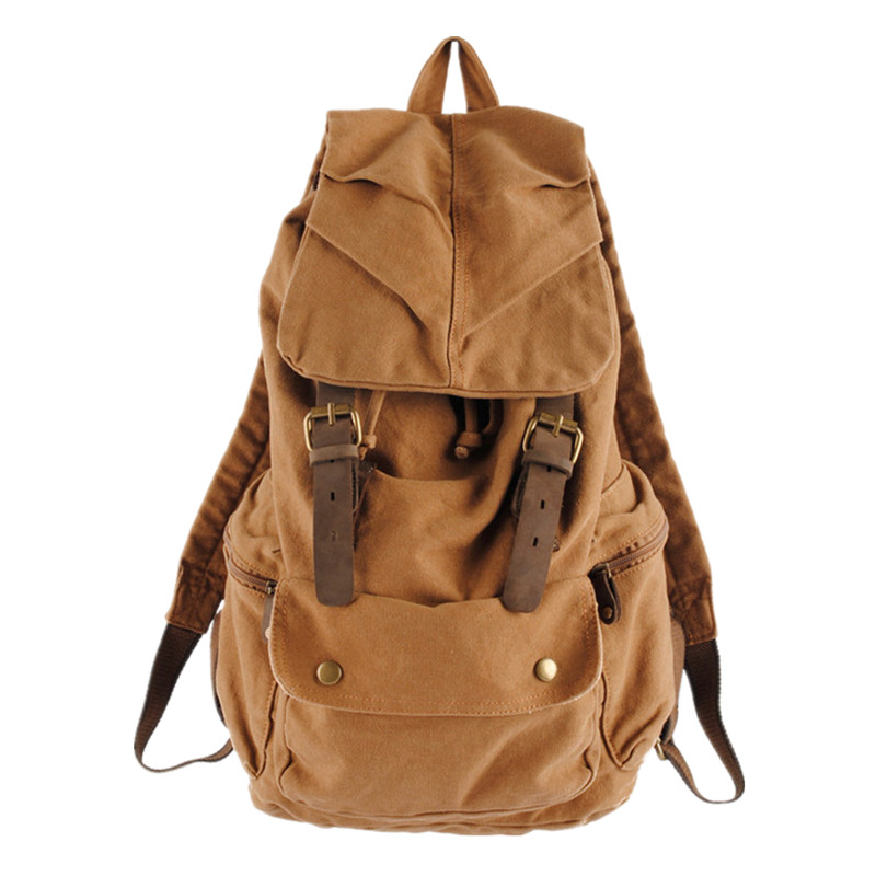 2016 New Designed Mens Backpacks Mochila Laptop Notebook Bags Vintage Genuine Leather Catch Canvas Backpack School Rucksack<br><br>Aliexpress