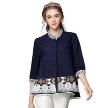 Brand Vintage 2016 Women Blouse European Beading Embroidery Geometric Pattern Collar 3/4 Sleeve O-Neck Women Blouse(China (Mainland))