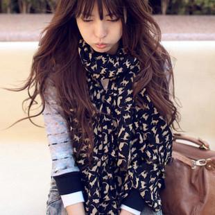 2012 новое поступление осень и зима женская russy кошка шарф сверхдлинным мыс конструкция шифона длинный шелковый шарф