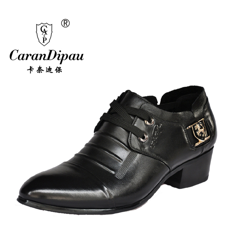 new 2016 classic 100% genuine leather shoes men's pointed toe dress shoes formal luxury wedding dress brand men shoes black(China (Mainland))