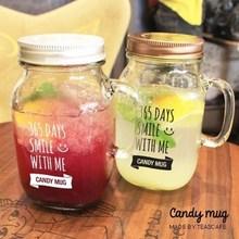 free shipping 2016 new square glass mason jar with handle for Beverage , mason jar mugs 14 oz for wedding(China (Mainland))