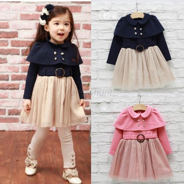 Winter/Autumn Girls Shawl Belt Lace Dress Kids Tutu Patchwork Princess Long Sleeve Cotton Dresses(China (Mainland))