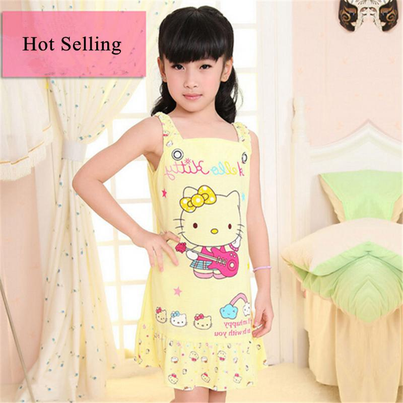2015 New Summer Cartoon Kid's Character Sleepwear Fashion Child Girl Cotton Pajamas Sleepshirt Princess Nightgown Sleep Dress(China (Mainland))