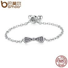 BAMOER Подлинная Стерлингового Серебра 925 Прекрасный bownot & Clear CZ Палец Кольцо для Женщин Ювелирные Изделия Стерлингового Серебра SCR016(China (Mainland))