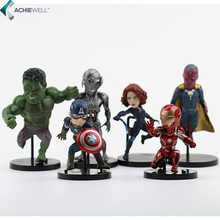 Marvel Avengers 2 Age of Ultron Hulk Black Widow Vision Ultron Iron Man Captain America Action Figures Model Toys 6pieces/set(China (Mainland))
