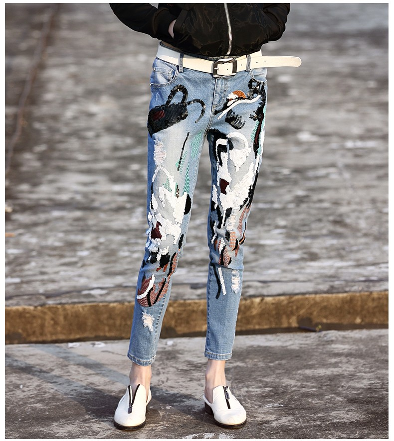 M.M.T. Spring Women  European And American Retro Style Novelty Personality Animal Sequined Embroidery Street Denim Pencil Pants