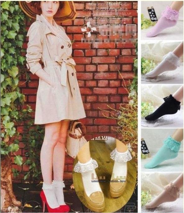1 PCS 2014 Fashion Women Vintage Lace Ruffle Frilly Ankle Socks Lady Princess Girl Favorite 5 Color Free Shipping(China (Mainland))