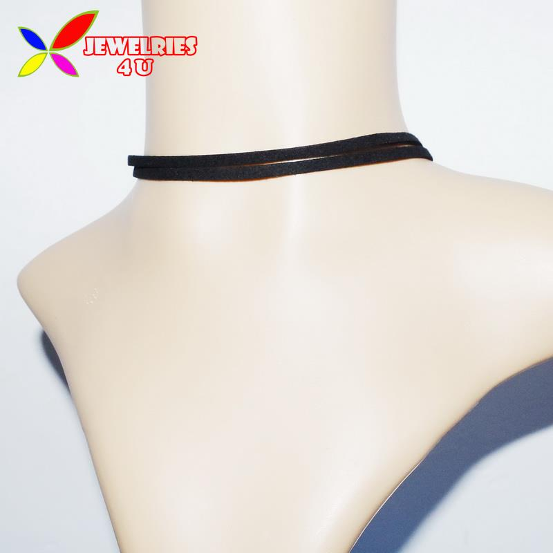2016 Hot Sale Top Fashion Double Layers Black Faux Leather Cord Female False Collar Chockers Necklaces for Women Bijoux(China (Mainland))