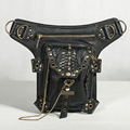 Steampunk Thigh Holster Protected Purse Shoulder Backpack Purse leather carteras mujer bag thigh Motor leg Outlaw