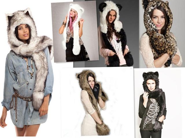 Новинка животных теплая зима искусственного меха пушистый плюша крышка гуд шарф шаль ...