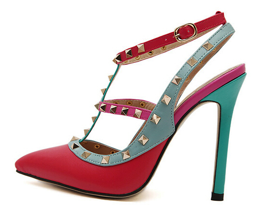 women pump multicolor high heels Rivets Pointed Toe Summer Style Stiletto sandals ladies celebrity Pumps Red Blue more colors(China (Mainland))