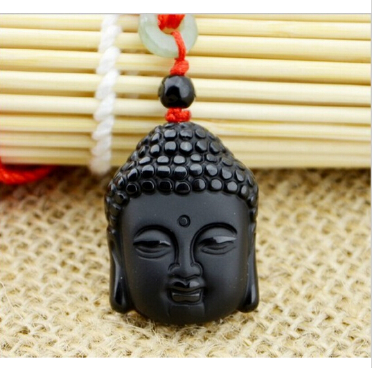Hot Sale Natural Crystal Stone Obsidian Buddha Head Pendant Mean Male Fashion pendant wholesale price + free rope(China (Mainland))