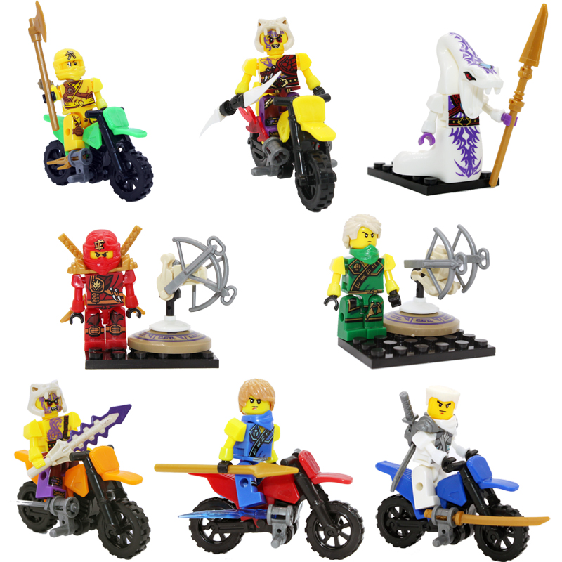 2015 New 8Pcs Ninjago Kai Jay Ninja Motorcycle Minifigure Building Blocks Set Model Bricks DIY Toy Aciton Figure Compatible Lago(China (Mainland))