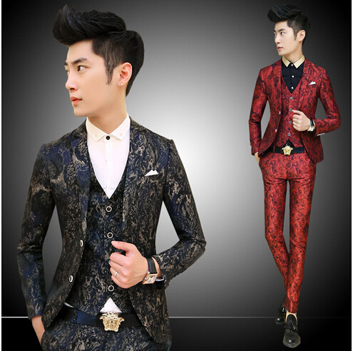 Wedding Mens Suit Red Navy Luxury Vintrage Baroque Floral Print Mens Suits With Pant Printed Jacket