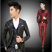 Red/Navy Vintage Baroque Floral Print Mens Suit