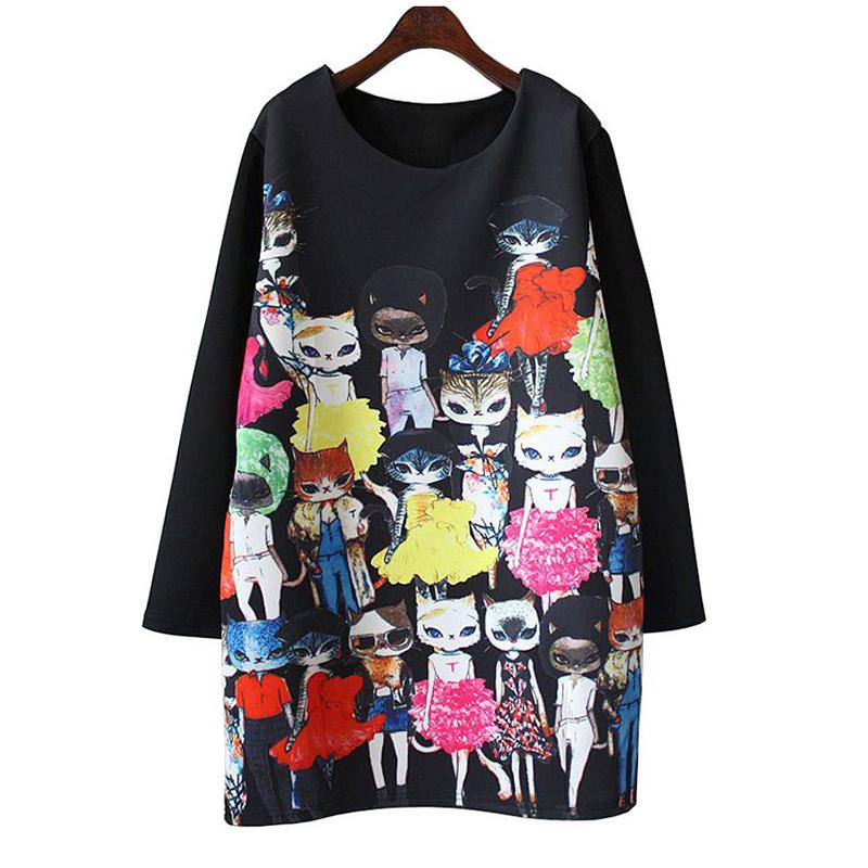 2016 new digital printing cat Miss Cat catwalk large size women dress pattern8191(China (Mainland))