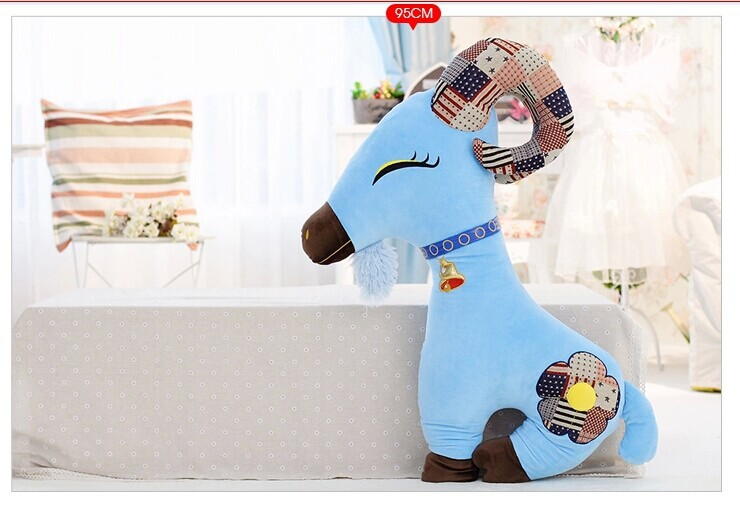creative new goat plush toy blue goat stuffed toy boyfriend pillow birthday gift about 95cm(China (Mainland))