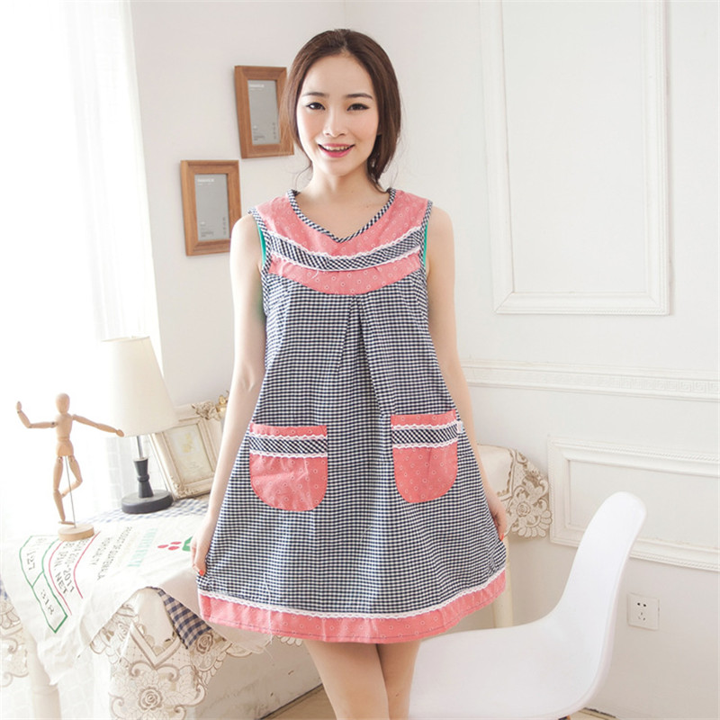 Sleeveless Cotton Embroidery Gird Lovely Cute Aprons for Women Waiter Apron With Pocket Overalls Smock Kitchen Accessories Tools(China (Mainland))