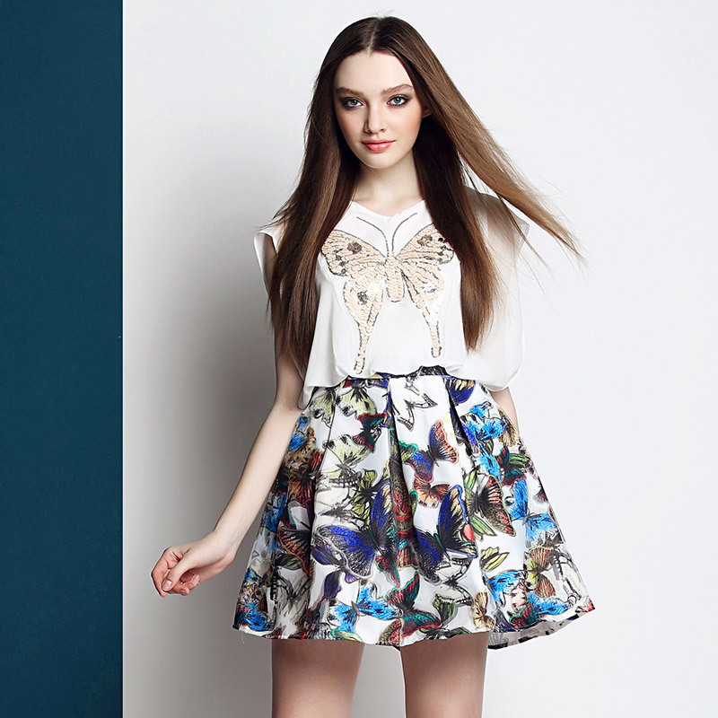Europe Style Women Sleeveless Chiffon Dress 2015 Summer Fashion Patchwork Butterfly Print Color Block Dresses Black White LS498Одежда и ак�е��уары<br><br><br>Aliexpress
