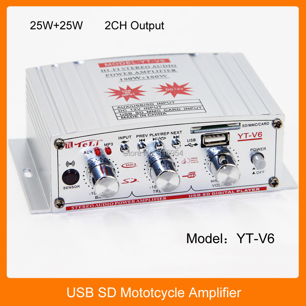 TeLi YT-V6 2 Channel USB SD Motorcycle Car Power Amplifier DC 12V 5A With Remote Control 25W+25W(China (Mainland))