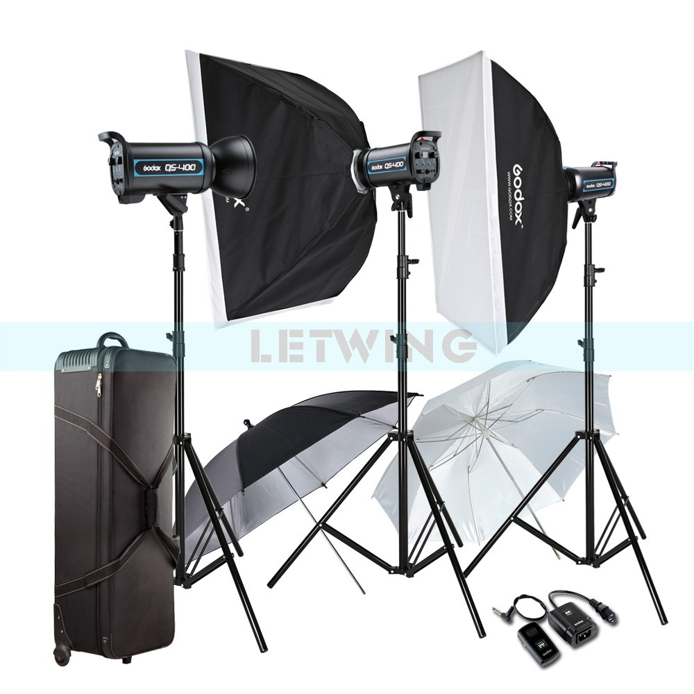 godox 3x 400w professional studio strobe flash light. Black Bedroom Furniture Sets. Home Design Ideas