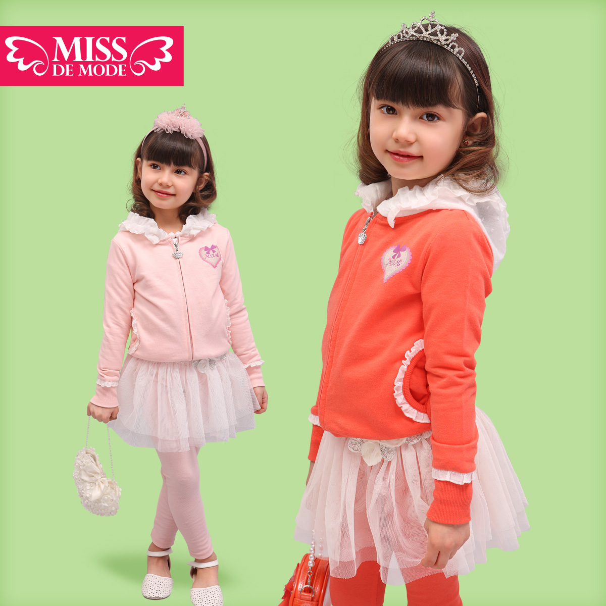 Green box childrens clothing female child set all-match child with a hood 100% cotton set spring<br>