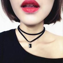 2016 New Fashion Multilayer Black Imitation Leather Choker Necklace Gothic Chain Charm Gem Pendant Vintage Jewelry XY-N606(China (Mainland))