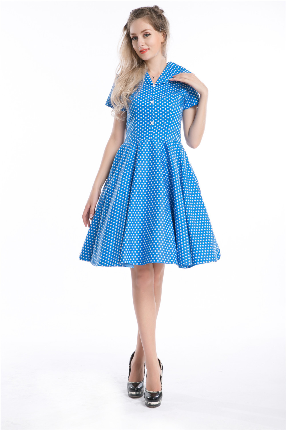 Hot sale sexy woman 50s 60s vintage swing dresses solid white polka