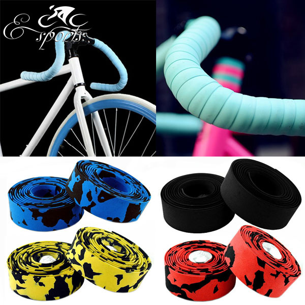 Hot Sale! 2015 New Arrival High Quality Colorful Cycling Handle Belt Bike Bicycle Cork Handlebar Tape Wrap +2 Bar(China (Mainland))
