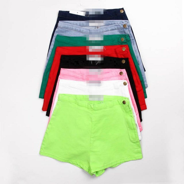 2015 New Fashion Summer High Waist Candy Color Side Zip Button Stretch Spandex Shorts Slim Hotpants Free Shipping(China (Mainland))