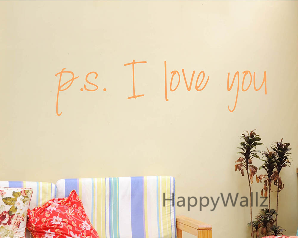 Love Quotes Vinyl Wall Art : Love quote wall sticker ps i you quotes diy