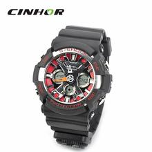 Sd-1220 resistente al agua Dual Time Display de cuarzo Sport reloj de pulsera w / brújula – negro + rojo