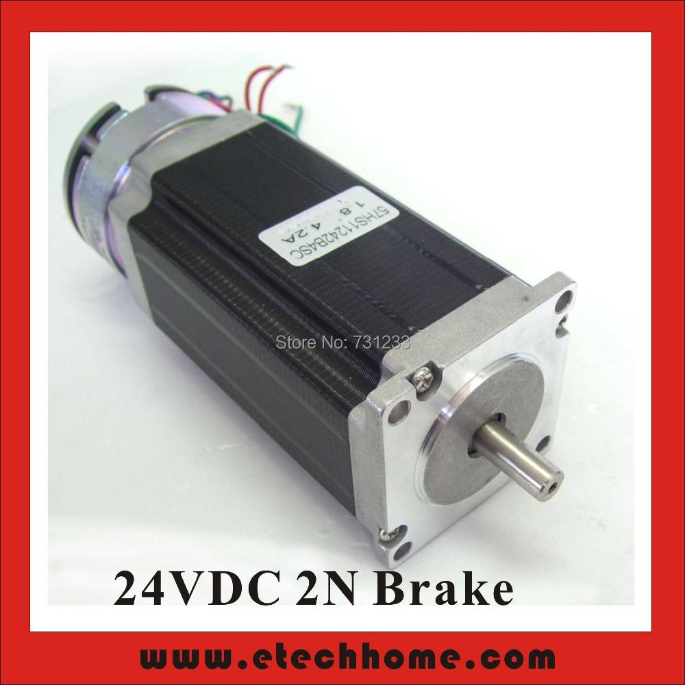 Фотография 24VDC 2N Brake NEMA23 Stepper Motor 57mm Brake Stepper Motor 112mm Body Length CE ROHS CNC