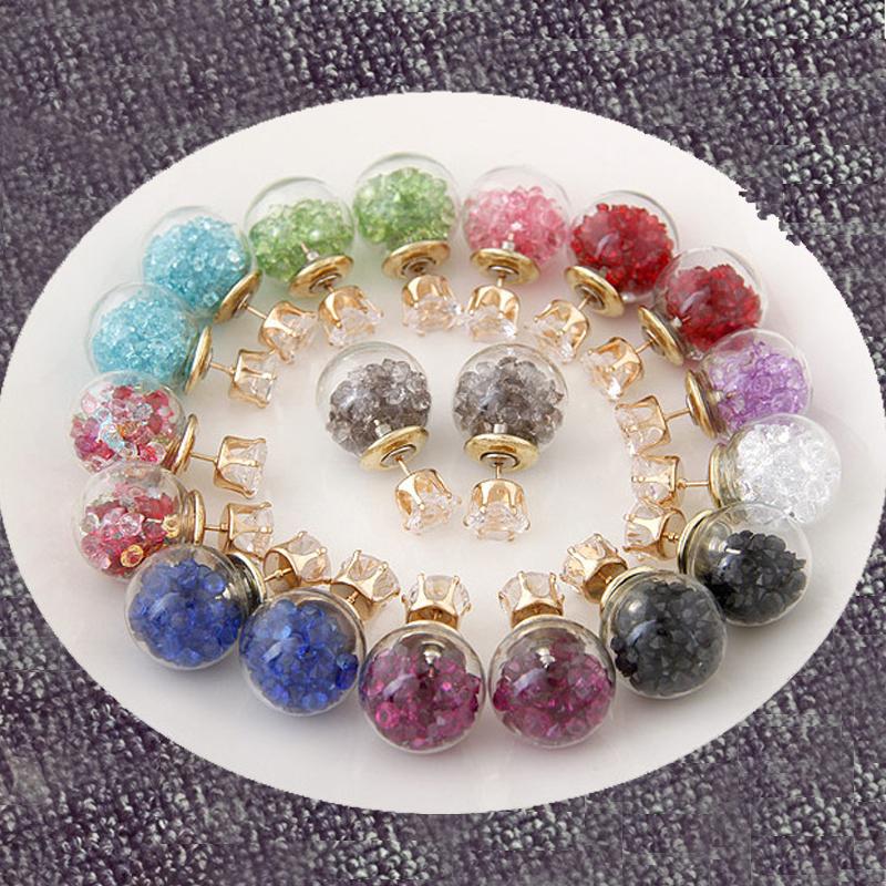 Hot Women Flower Crystal Piercing Glass Earrings Studs Ball Double Sided Earring Ladies Rhinestone Jewelry(China (Mainland))