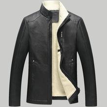 2015 New Winter Jacket In Elderly Men's Business Casual Men's Leather Jacket Male Genuine Thickening  Erkek Deri Ceket(China (Mainland))