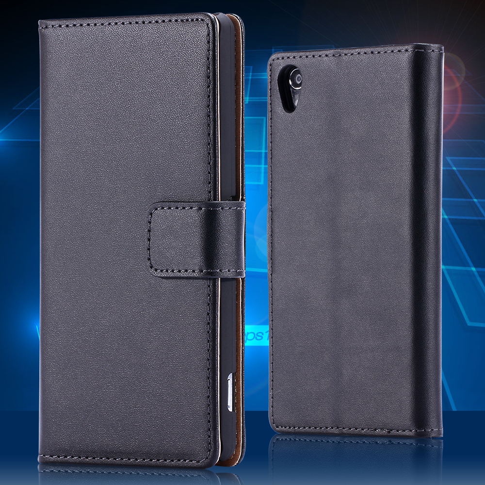 For Xperia Z2 Classic Brown Real Genuine Leather Case for Sony Xperia Z2 C770x Luxury Wallet With Card Slot Stand Leisure Cover(China (Mainland))
